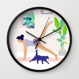 Girl Power Yoga pose Wall Clock