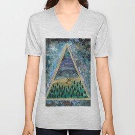 camping mountain galaxy dreamscape Unisex V-Neck