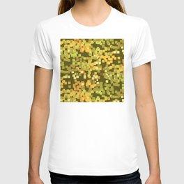 Geometric Squares Pattern in Trendy Faux Camo Design T-shirt