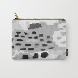 Turan - Black and white grey abstract painting modern home decor minimalist neutral trendy dorm Carry-All Pouch