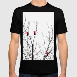 Artistic Bright Red Birds on Tree Branches T-shirt