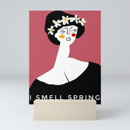"Spring Girl with caption ""I smell Spring"" Mini Art Print"
