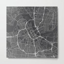 Nashville Map, USA - Gray Metal Print