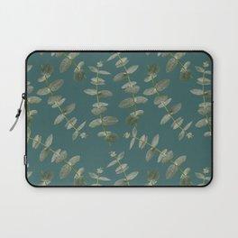 Eucalyptus Patterns with Aqua Background Realistic Botanic Patterns Organic Design with Real Plants Laptop Sleeve