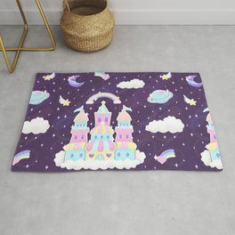 Dreamy Cute Space Castle Rug