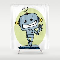 robot Shower Curtains featuring Robot by krasivo