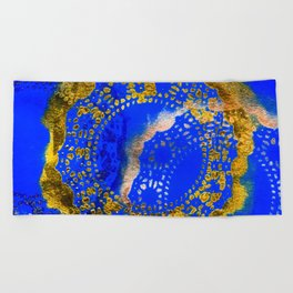 Royal Blue and Gold Abstract Lace Design Beach Towel