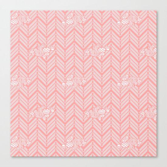 Coral Pink Chevron Floral Canvas Print