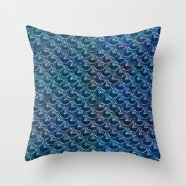 Shimmering Blue Metallic Mermaid Scales Throw Pillow