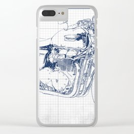 Triumph motorcycle blue and grey, giftforman,christmas gift Clear iPhone Case