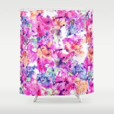 Trendy hand painted pink purple floral watercolor pattern Shower Curtain