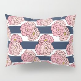 Pink Peony Floral on Navy Blue and White Stripes Pillow Sham