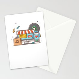 Online music store. music shop with vinyl, smartphone and headphone music Stationery Cards