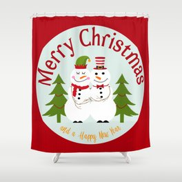 Merry Christmas and a Happy New Year Snowman Couple Shower Curtain