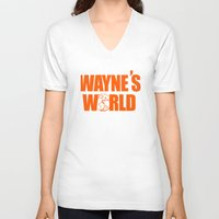 snl V-neck T-shirts featuring Waynes World logo SNL saturday night live 90s Funny Geek Nerd by jekonu