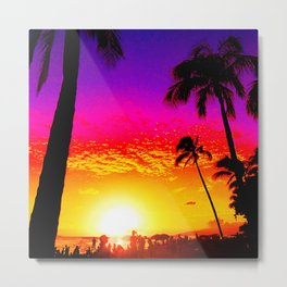 Sunset on Waikiki Metal Print