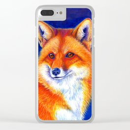 Colorful Red Fox Portrait Clear iPhone Case