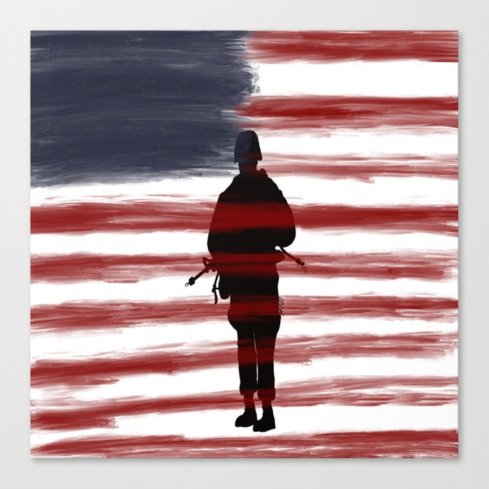 Soldier and Flag - Patriotic Canvas Print