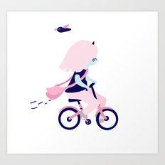 First day on bike Art Print