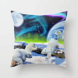Joyful - Polar Bear Cubs and Planet Earth Throw Pillow