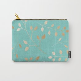 Turquoise with leafs Carry-All Pouch