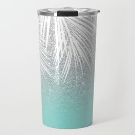 Modern tropical white palm tree silver glitter ombre on robbin egg blue turquoise Travel Mug