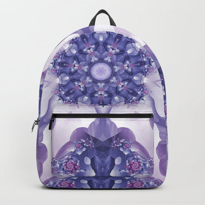 Violet and Magenta Fractal Kaleidoscope Mandala Backpack