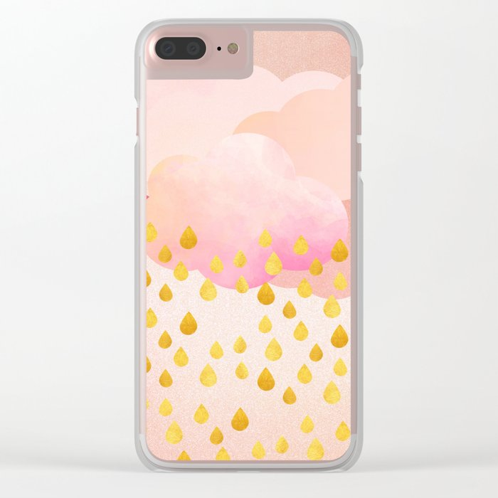 Rose gold rainshowers Clear iPhone Case