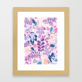 kids collection - birds, flowers and leaves Framed Art Print