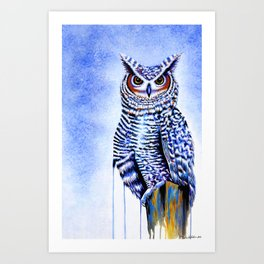 Blue Great Horned Owl Art Print
