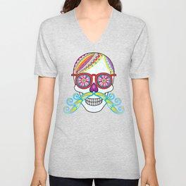Sugar Skull (Mustachio) Unisex V-Neck