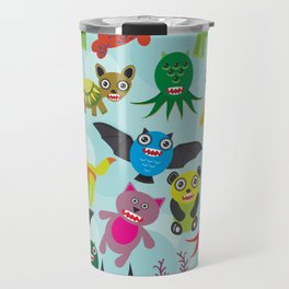 Cute cartoon Monsters seamless pattern on blue background Travel Mug