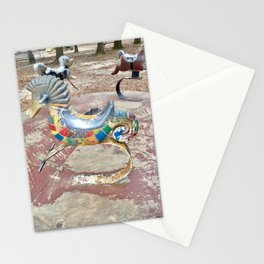 Rusty seahorse playground Merry go round Stationery Cards