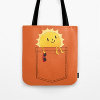 cartoon Tote Bags featuring Pocketful of sunshine by Picomodi