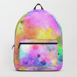 Pastel Rainbow Watercolor Abstract Painting With Dots & Splashes Backpack