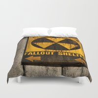fallout Duvet Covers featuring Fallout Shelter by Julie Maxwell