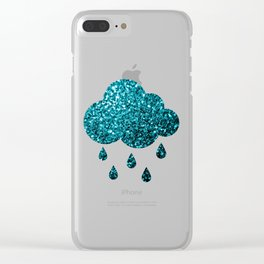 Beautiful Aqua blue glitter sparkles Clear iPhone Case