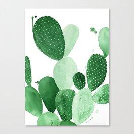 Green Paddle Cactus II Canvas Print