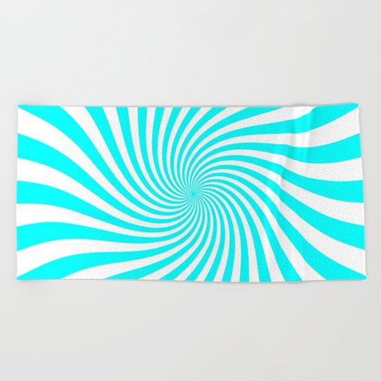 Swirl (Aqua Cyan/White) Beach Towel