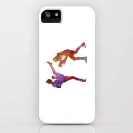 Woman boxwe boxing man kickboxing silhouette isolated 01 iPhone Case
