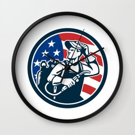 Welder Looking Side USA Flag Circle Retro Wall Clock