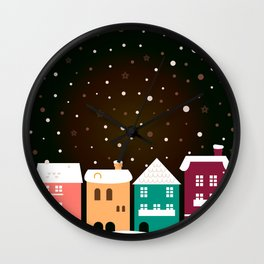 Christmas snowing town / Product designs edition 2016 Wall Clock