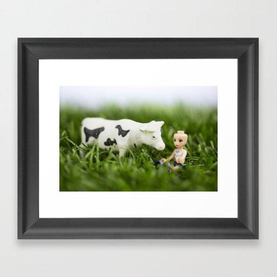 Baldy & Cow Framed Art Print