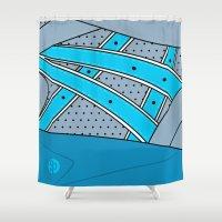 saga Shower Curtains featuring RONNIE FIEG X ASICS GEL SAGA - NEPTUNE by SNEAKERPILLOW