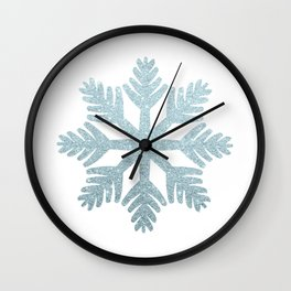 Blue Glitter Snowflake Wall Clock