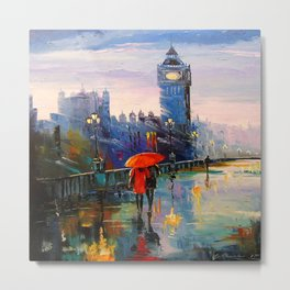 Rain in London Metal Print