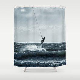 Kiteboarding the North Sea Shower Curtain