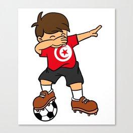 Tunisia Soccer Ball Dabbing Kid Tunisian Football 2018 Canvas Print