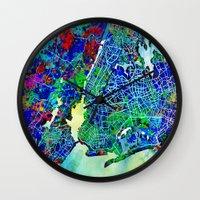 new york map Wall Clocks featuring new york new york map by Bekim ART