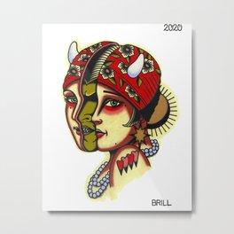 Split Face Tattoo Flash Painting with Demon Metal Print